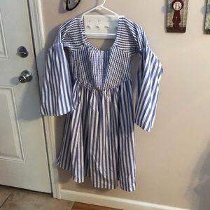 Torrid size 1 off the shoulder blue striped dress